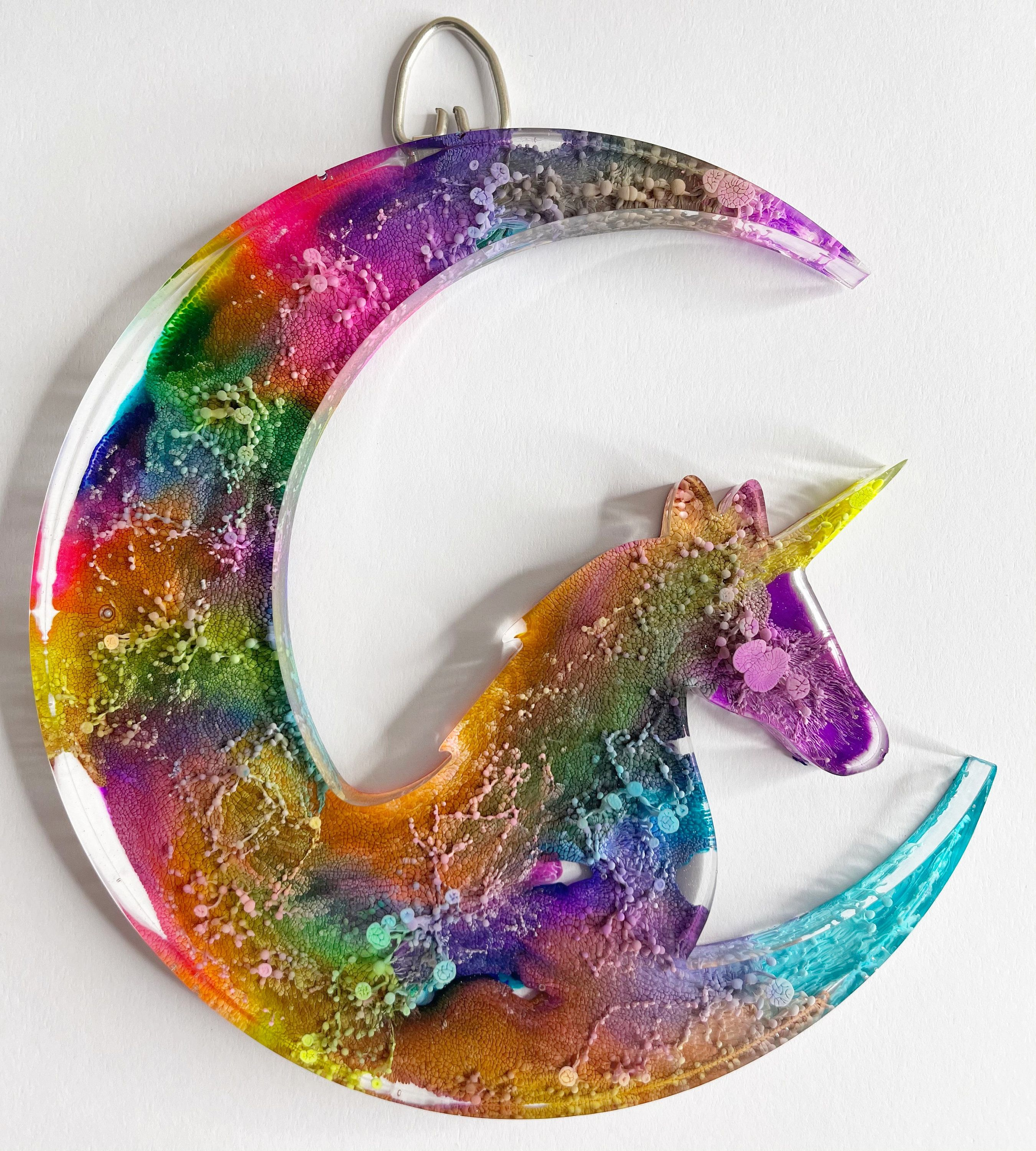 Excited to share this item from my #etsy shop: Tie Dye Unicorn Moon - Handmade Wall Hanging #unicorn #moon #tiedye #colorful #homedecor #handmade #unique #gallerywall #oneofakind #rainbow
