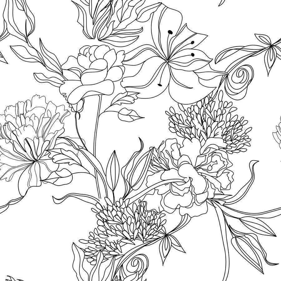 Sketch Floral Floral Wallpaper Floral Pattern Wallpaper Pattern Wallpaper
