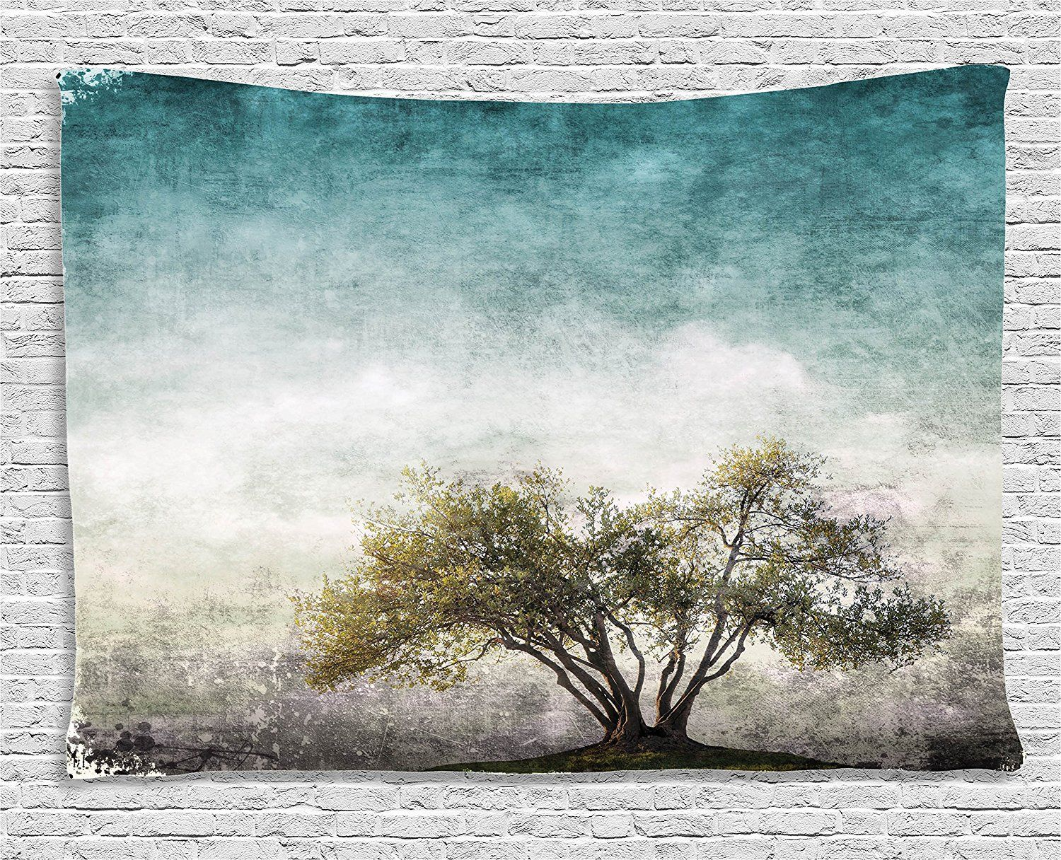 Ambesonne tree of life decor collection grunge landscape with