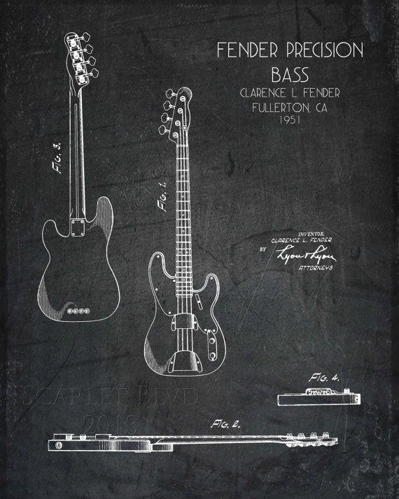 1236acaba376d Art de style Guitare Bass plan imprimé par ScarletBlvd sur Etsy ...