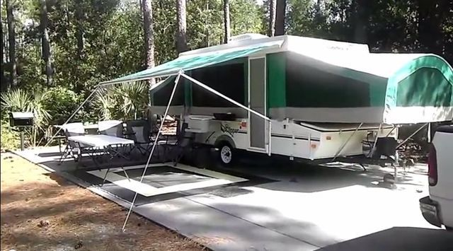 Awning Set Up On 2002 Coachman Clipper 086 Popup Camper Tent
