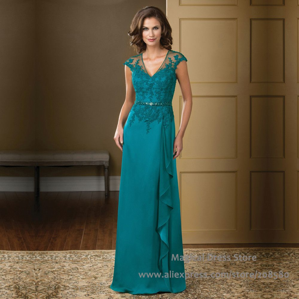 Turquoise Mother of the Bride Dress 2015 V Neck Lace Chiffon Plus ...