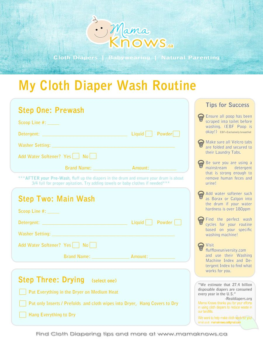 Cloth diaper wash routine free printable for your laundry