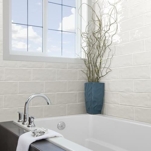 Vivant Gloss White Undulated Ceramic Wall 4 1 4 X 12 3 4 At Menards Tile Tub Surround Bathtub Tile Grey Bathroom Tiles