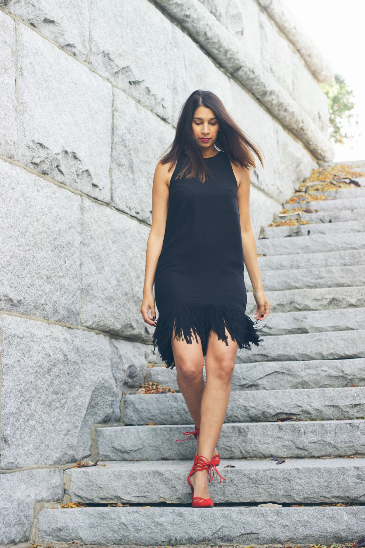 The Holiday Dress You Need Lows To Luxe Dresses Black Fringe Dress Red Heels Outfit [ 1800 x 1200 Pixel ]