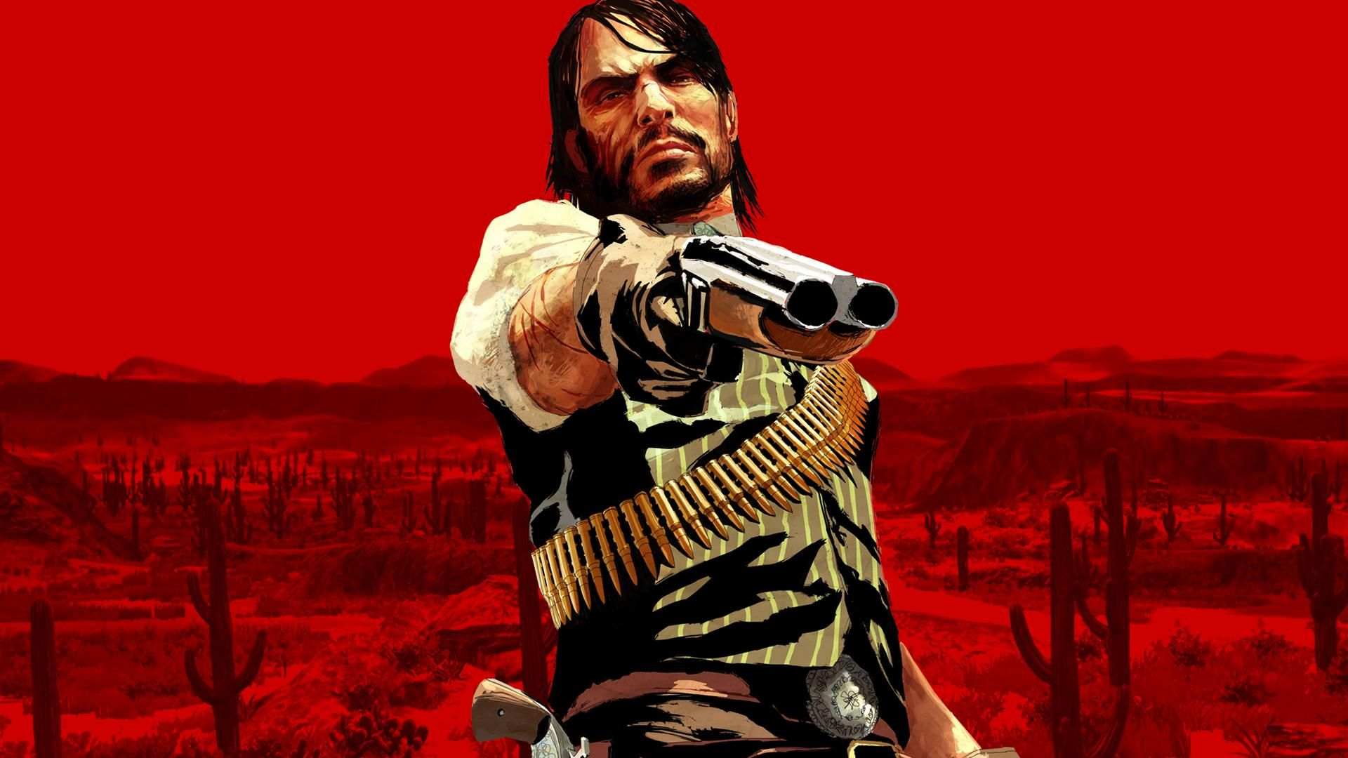 2560x1440 RDR John Marston With Gun On A Red Background Wallpaper