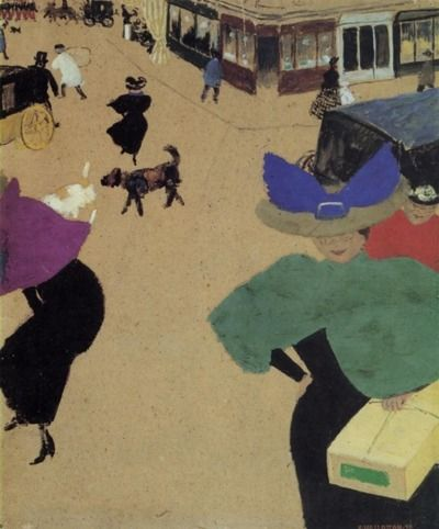 Felix Vallotton (Lausanne 1865 - 1925 Paris) - A Street (aka Street  Corner), 1895