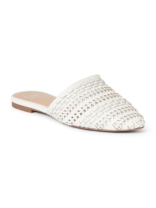 3933d428a153 Gap Womens Flat Mules In Woven Leather Ivory