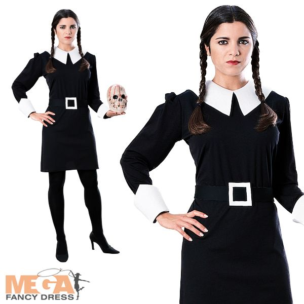 Wednesday Addams Family Ladies Halloween Fancy Dress Womens Costume Movie Outfit | eBay  sc 1 st  Pinterest & Wednesday Addams Family Ladies Halloween Fancy Dress Womens Costume ...