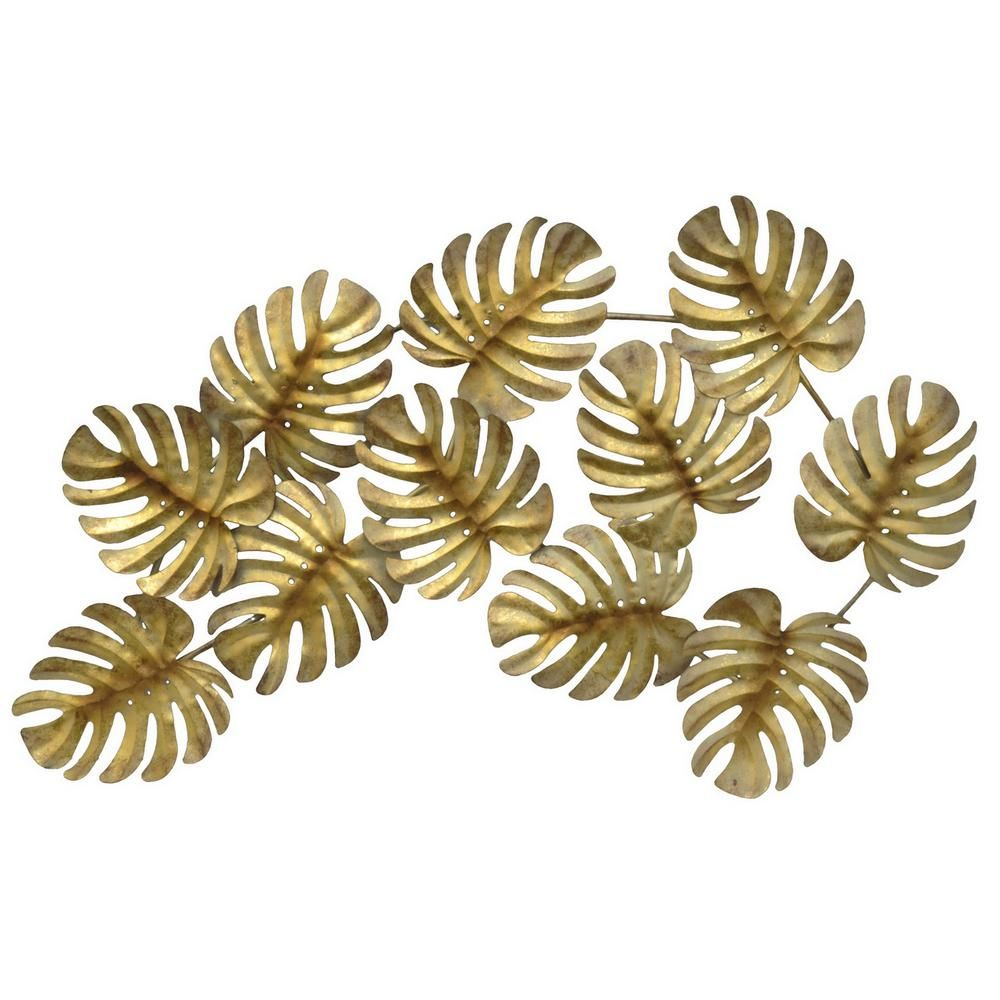 attractive Metal Leaves Wall Decor Part - 7: Gold Metal Tropical Leaves Wall Decor