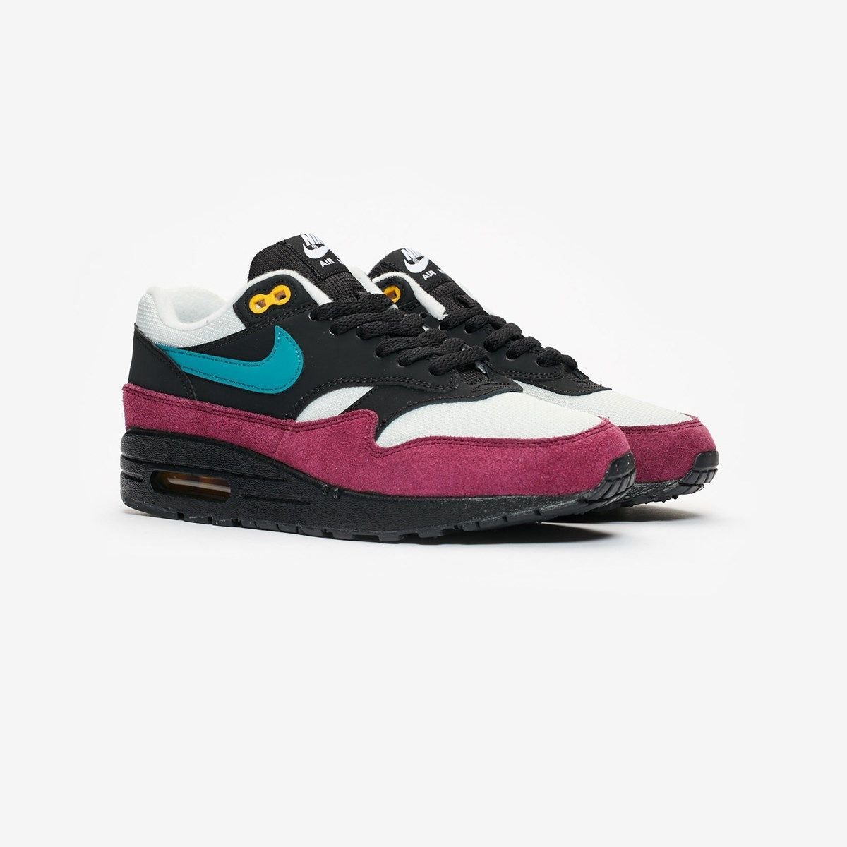 uk availability 723c1 d26b9 These Black, Geode Teal and Light Silver Nike Air Max 1 are crafted with a  mesh upper that features nubuck overlays and leather highlights.