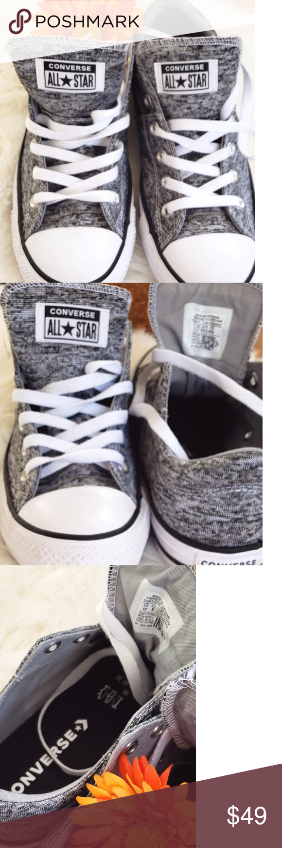 NEW Converse Sz 10 BlackGrayWhite New Womens Low Top