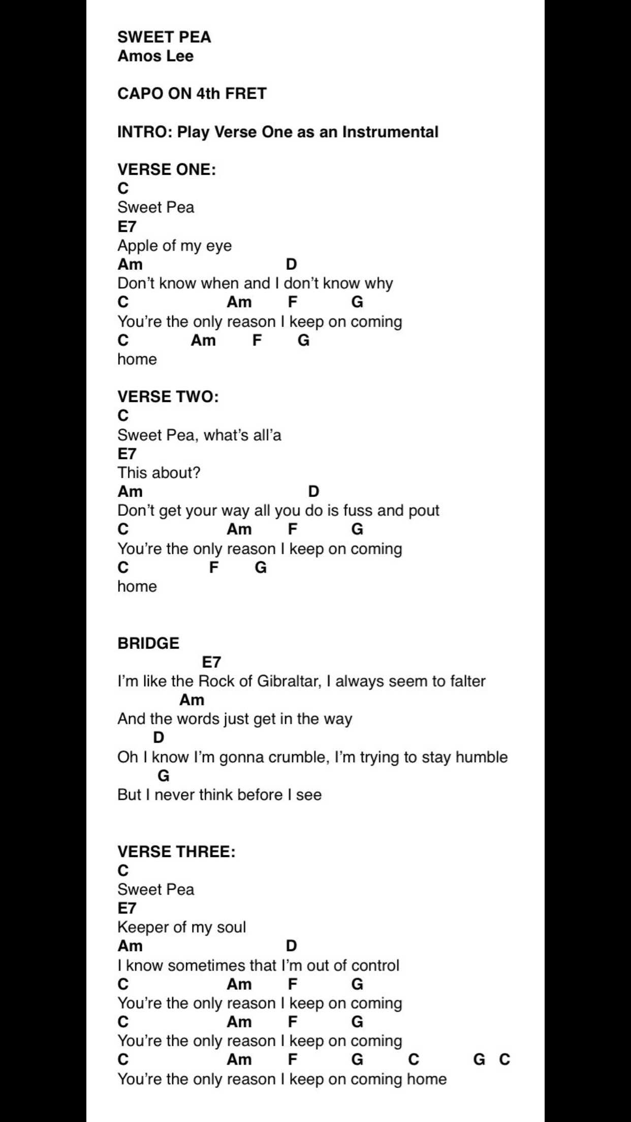 Sweet Pea Amos Lee D D D U D U Ukulele Songs Pinterest