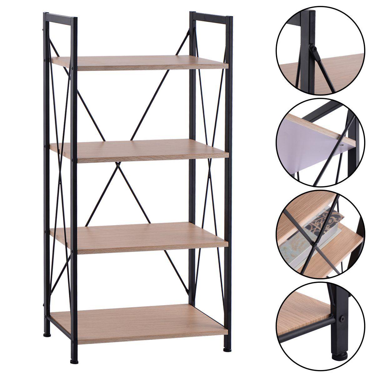 Amazon Giantex 4 Tire Wooden Bookshelf Bookcase Steel Storage Display Shelf Furniture Home