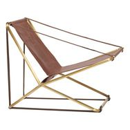 Brown Jordan Cricket from 1979 gets an update. Folding Lounge Chair in Brass & Leather