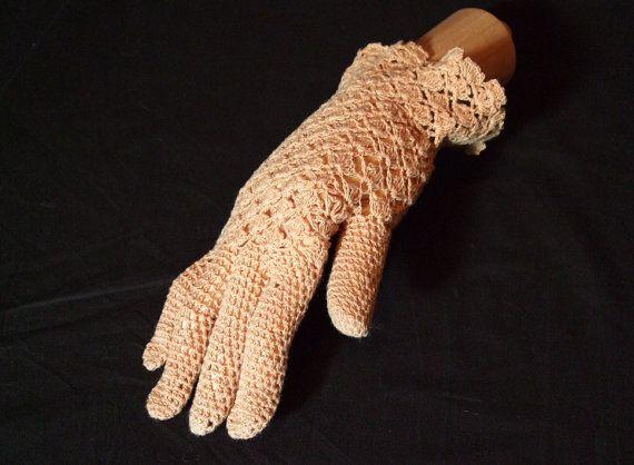 Peach / pale tan crochet gloves