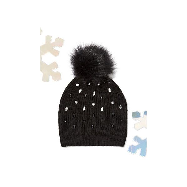 a2a07bd51bf Jeweled Knit Pom-Pom Hat ( 10) ❤ liked on Polyvore featuring accessories