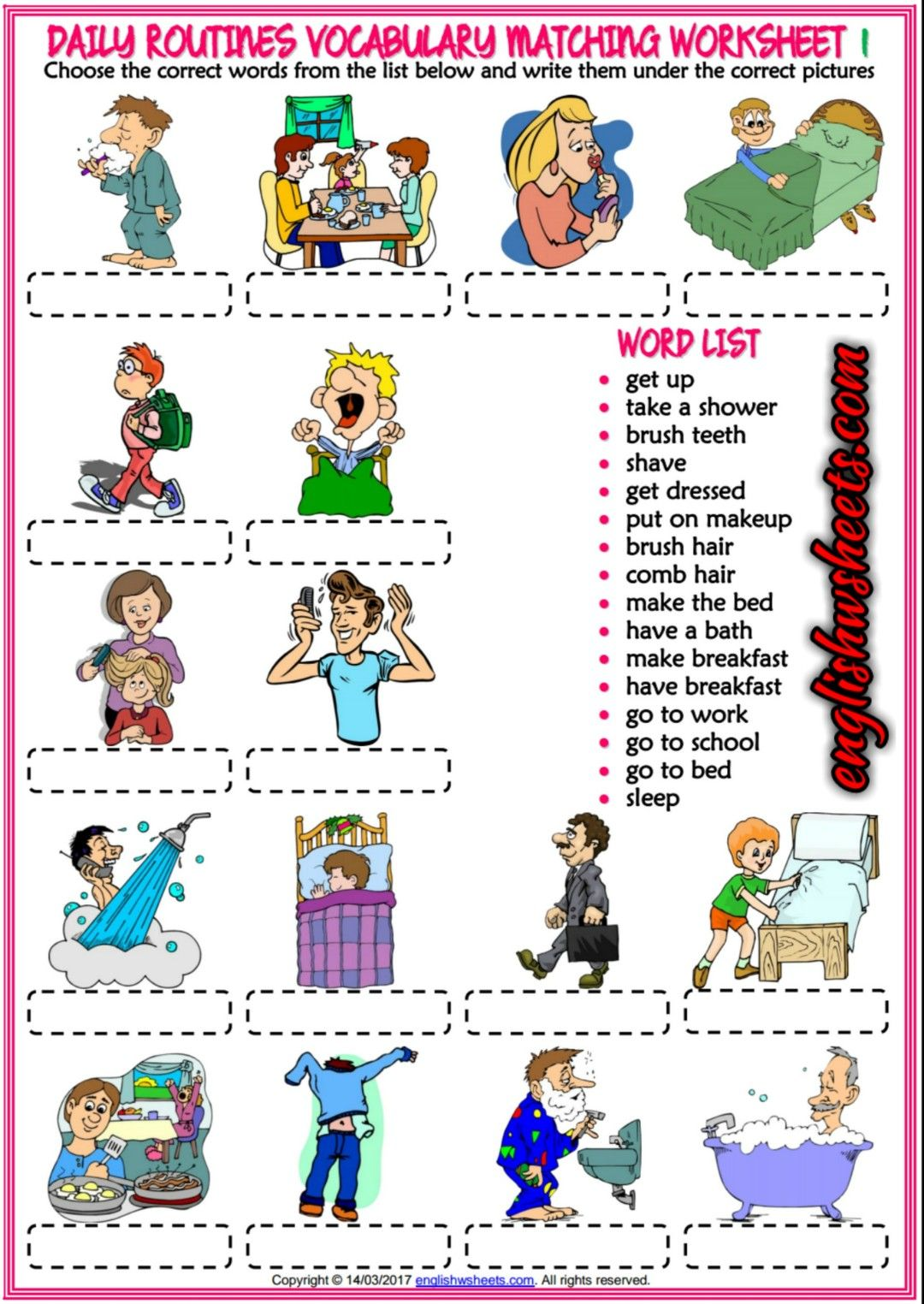 Daily Routines Esl Printable Matching Exercise Worksheets For Kids