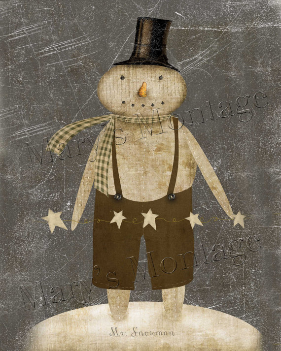 36 Stylish Primitive Home Decorating Ideas: Mr Snowman, Primitive Digital Art, 8x10, Download
