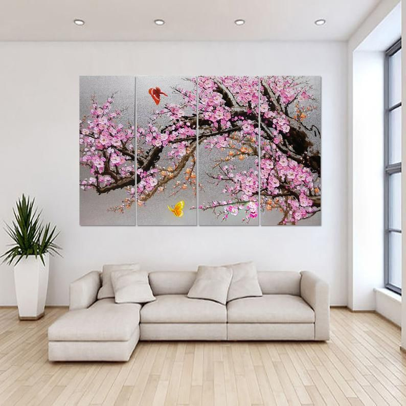Hand-painted living room bedroom home decor Blooming pink ...