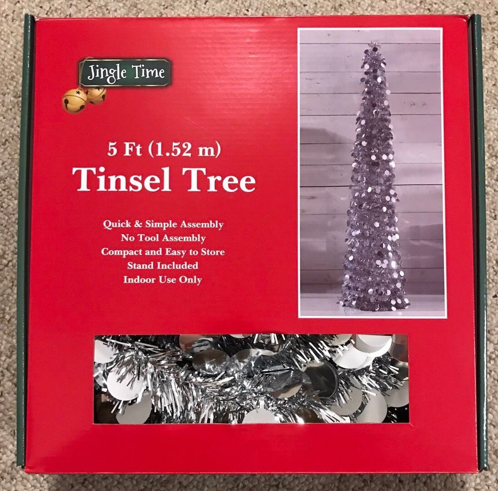 Silver Tinsel Pop Up Christmas Tree: 5' Pop Up Christmas Tree Silver Tinsel Thin Collapsable