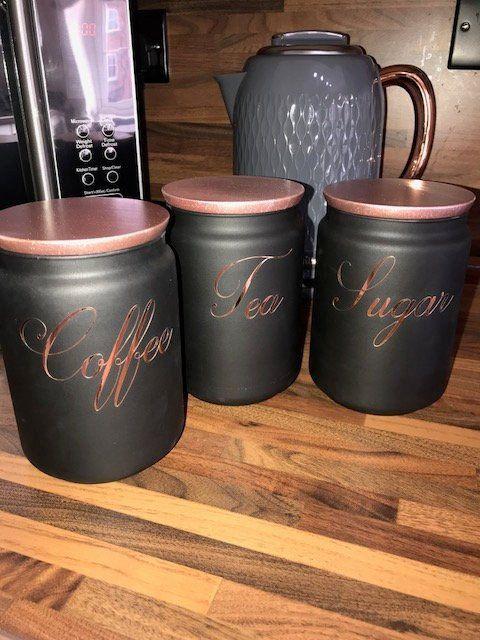 Tea Coffee Sugar Kitchen Storage Canister Set Of 3 Black