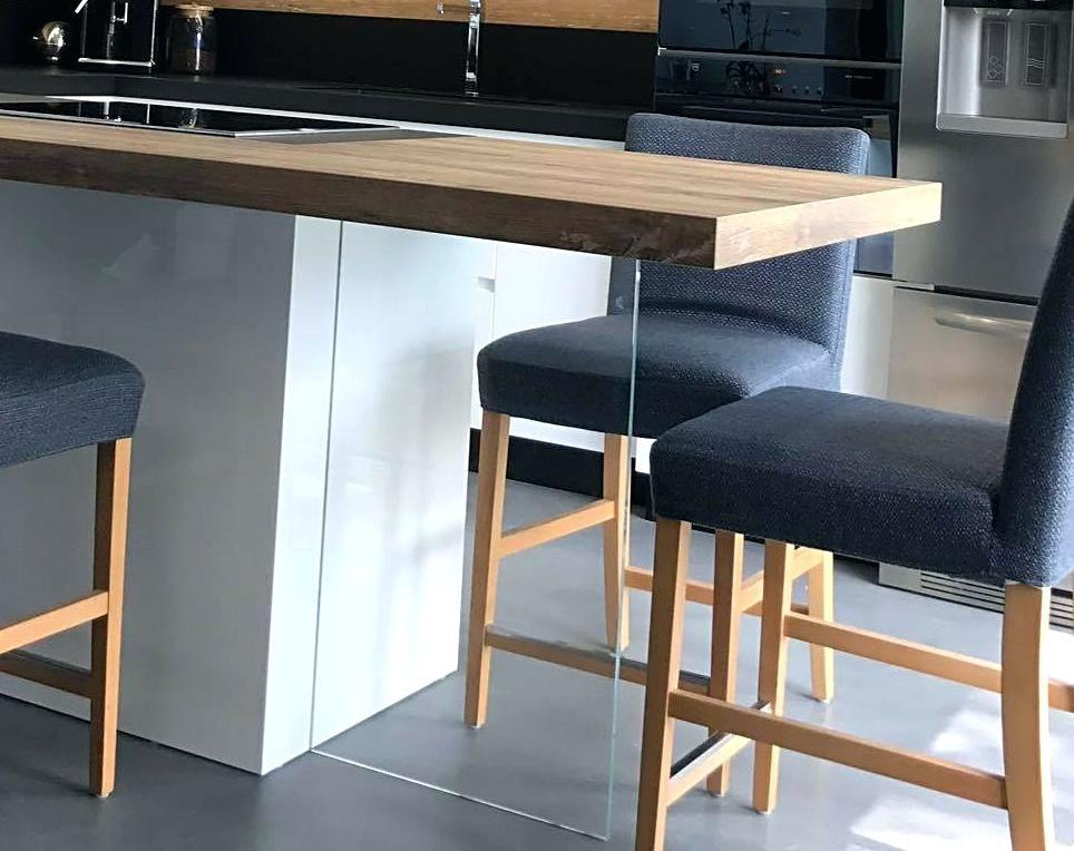 pied ilot cuisine table plan de travail avec pied enverre pied ilot - Table De Cuisine Avec Plan De Travail