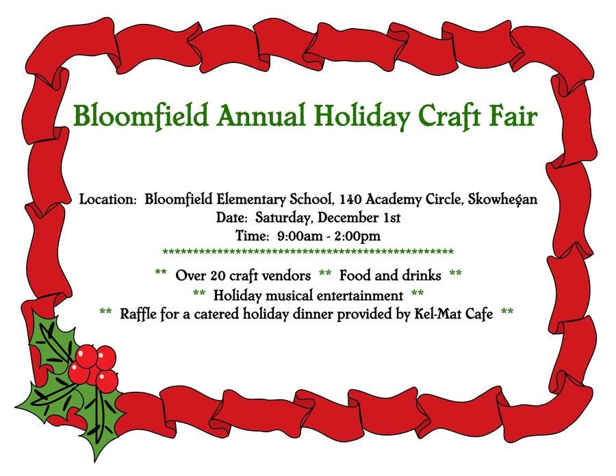 Bloomfield Annual Holiday Craft Fair At Bloomfield Elementary