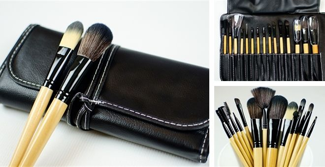 Professional 15 Piece Makeup Brush Set With Fold Up Leather Case