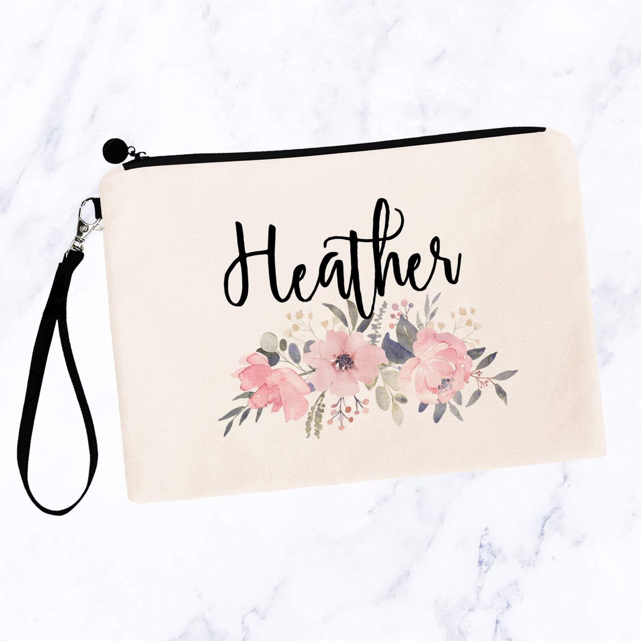 Soft Pink Floral Custom Makeup Bag In 2020 Custom Makeup Bags Makeup Bag Cosmetic Bag