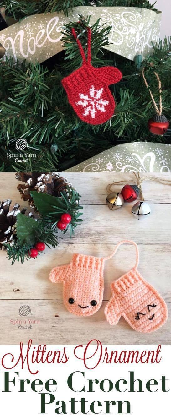 Mittens Ornament Free Crochet Pattern | Häkeln | Pinterest | Häkeln ...