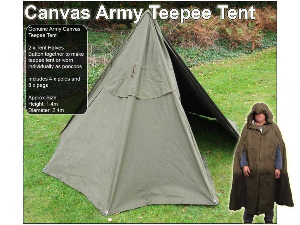 outlet store db83e e1158 Polish Army Tent Tipi Lavvu Shelter Canvas 2 Man Genuine ...
