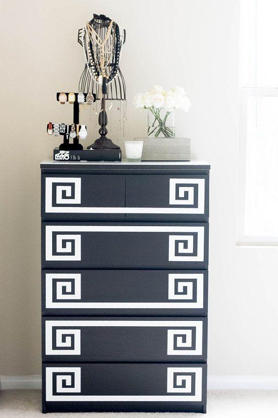 Ikea Furniture Hack Greek Key Decals Coral Mint Gold by Lulukuku