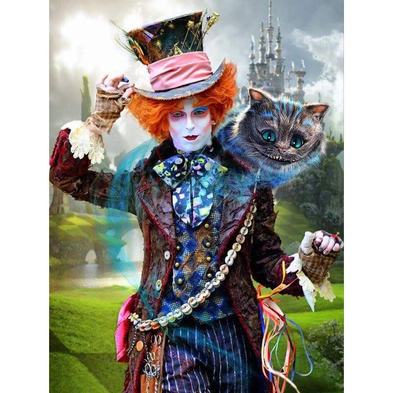 5D DIY Diamond Painting Alice In Wonderland Cross Stitch Love The Cheshire Cat