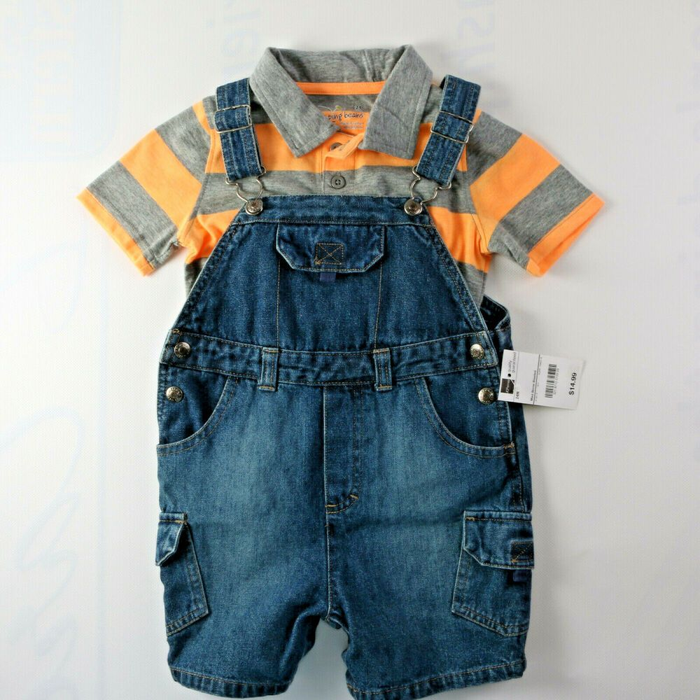e4bc6b119 BOYS TODDLERS DENIM BIB OVERALLS AND STRIPED SHIRT 2 PIECE SET 24M ...