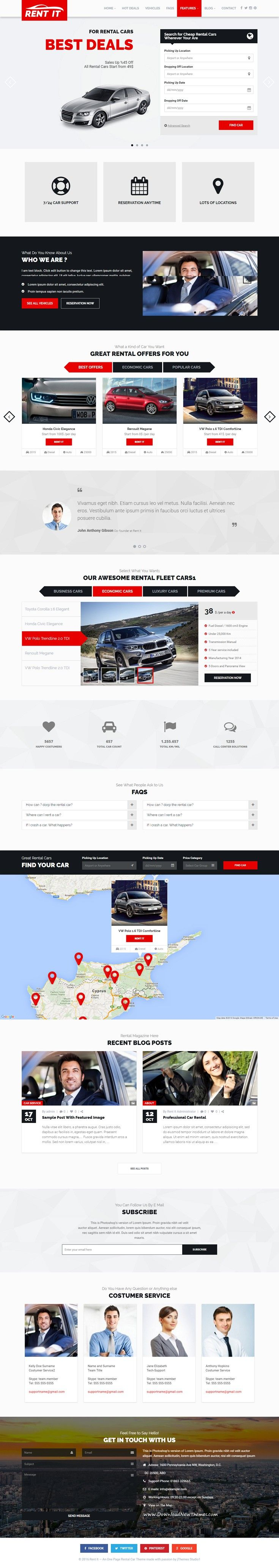 Rentit is modern and clean Car Rental WordPress Theme Download Now ...