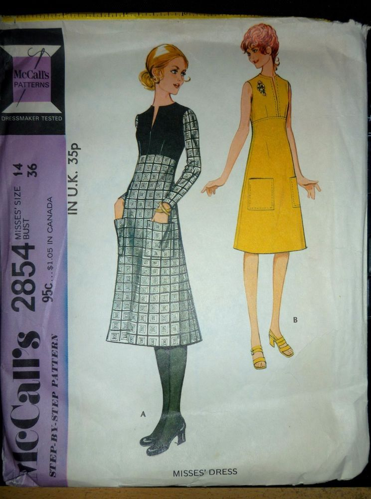RARE VINTAGE 1971 MCCALL\'S 2854 SEWING PATTERN CUT & USED A-LINE ...