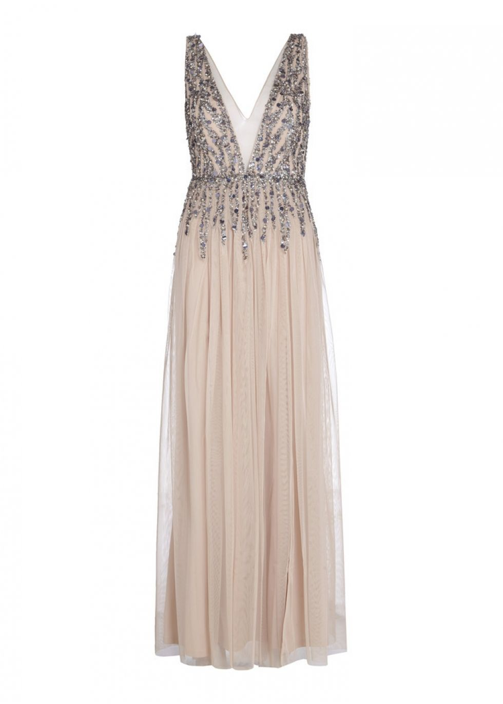 9c3f6776 Nude sleeveless evening dress by Aidan Aidan Mattox offered in pleated  tulle, hand applied with a medley of beads, sequins and faux pearls in  antique silver ...