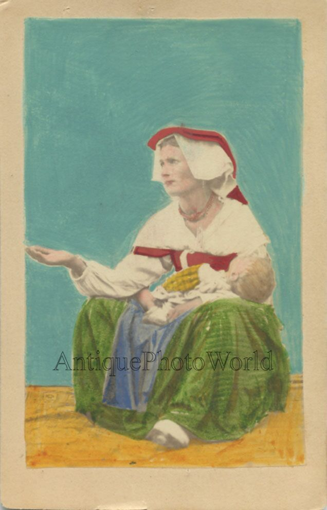 Italy woman beggar with child antique hand tinted CDV photo