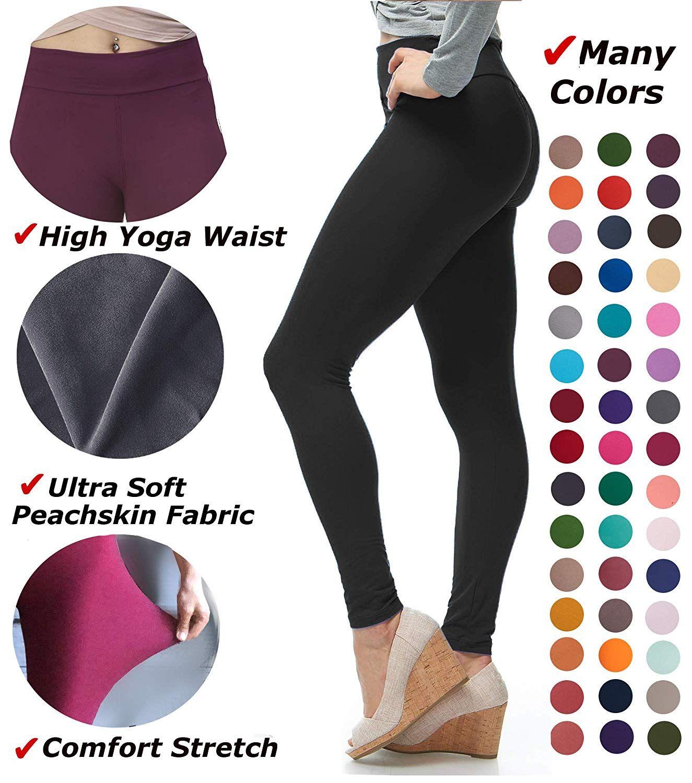 9f35fc4fdace5 LMB Women's Extra Soft Leggings with High Yoga Waist Pants 40+ Colors Plus  Sizes at