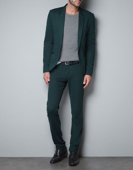 3f41d89b22bec Zara Plain Coloured Circular Knit Suit Trousers in Green for Men | Lyst