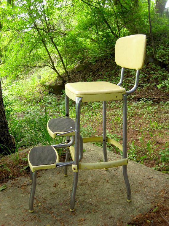 Groovy Vintage 1950S Stylaire Chair Fold Out Step Stool Yellow And Gmtry Best Dining Table And Chair Ideas Images Gmtryco