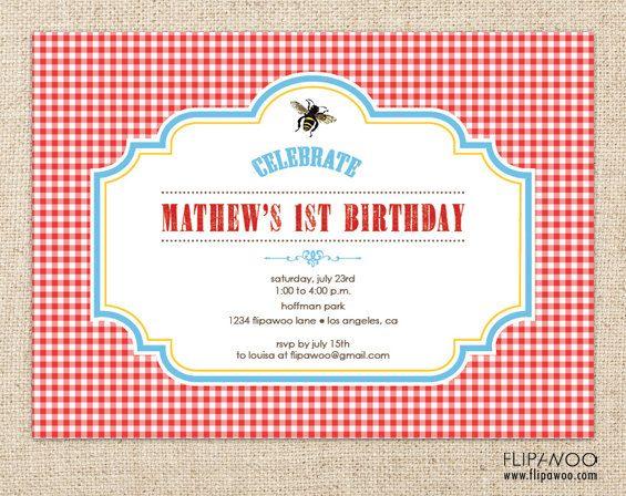 Picnic Bee Invitation Design, Picnic Birthday Invitation, Shower ...