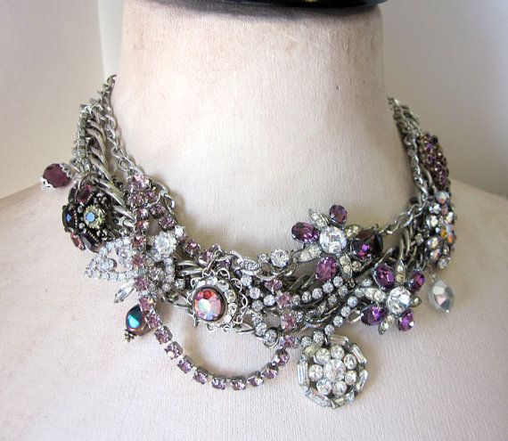 Statement Necklace Repurposed Rhinestone Collar by jryendesigns, $149.00