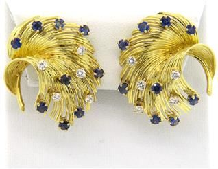 18K Gold Sapphire Diamond Swirl Earrings Featured in our upcoming auction on August 17, 2015 11:00AM EST!!