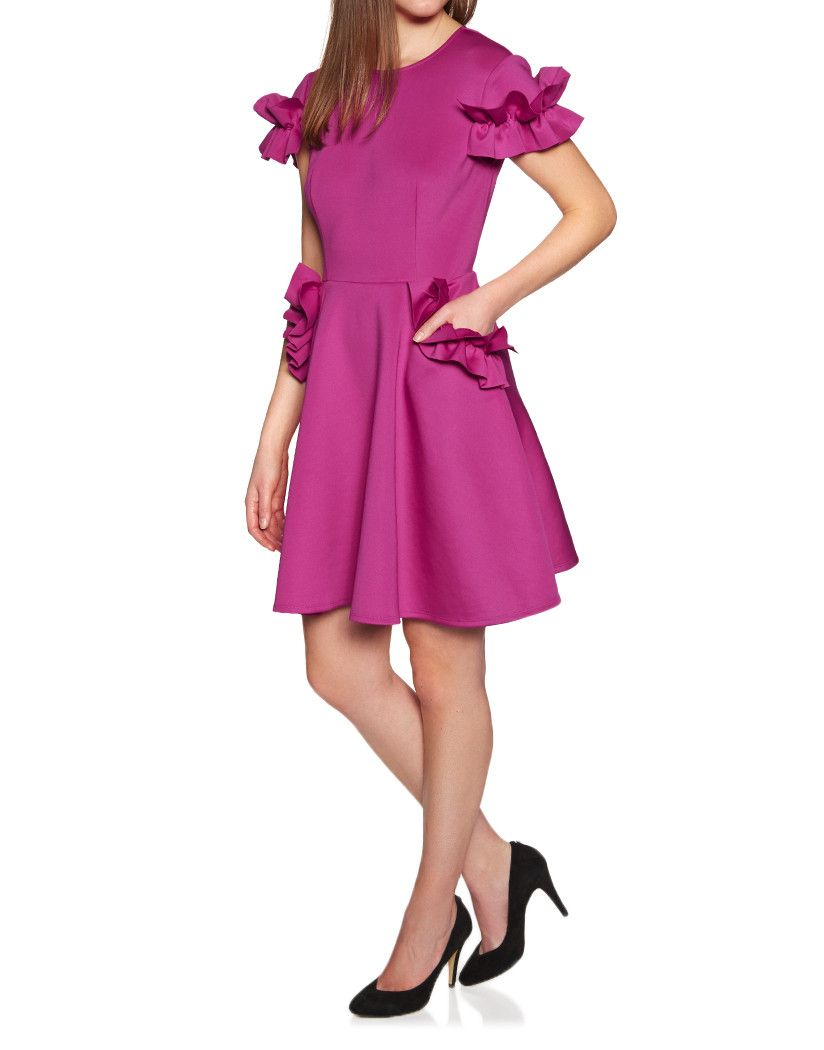 8ff919367b Ted Baker Women s Luuciee Ruffle Detail Skater Dress - Deep Pink in ...