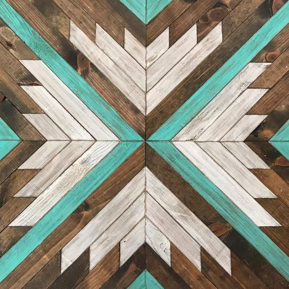 Rustic Geometric Turquoise Wall Art