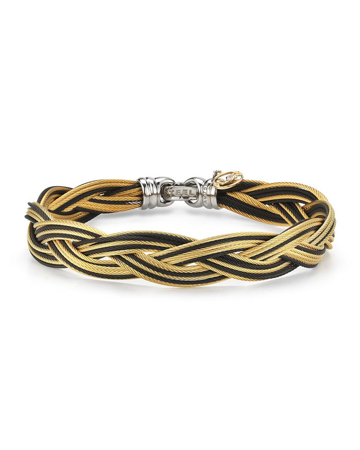 Braided stainless steel microcable bracelet blackyellow cable