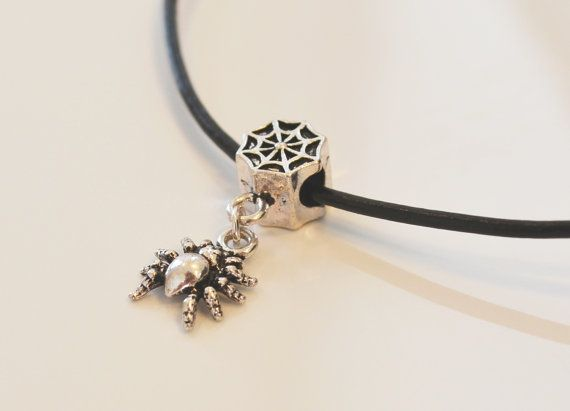 Leather Necklace with a Silver Spider and Web. Black cord. Free shipping. Symbol of mystery