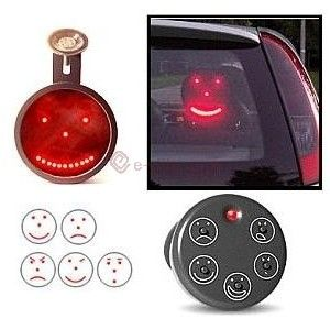 The car behind you is getting to close? Show him a angry face with this LED faces indicator, it has 5 different expressions from happy, angry to sad.